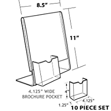 Azar 252055 8-1/2-Inch W by 11-Inch H L-Shaped Sign Holder with Attached Brochure Pocket, 10-Piece Set