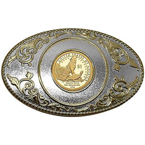 Native American 2013 Golden Dollar Belt Buckle Commemorates Lenape Treaty