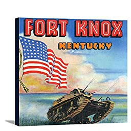 Fort Knox, Kentucky - Large Letters, View of a Tank and the US Flag (14x16 Gallery Wrapped Stretched Canvas)