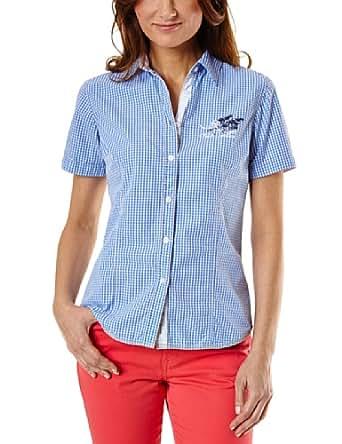Pioneer Damen Bluse Bluse 1602_3518_116, Gr. 42 (XL), Blau (blue Vichy Check 116)