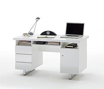 Dreams4Home Schreibtisch 'Dyna II' - Tisch, Burotisch, Arbeitstisch, B/H/T: 140 x 76 x 60 cm, Metall verchromt, 3 Schubkästen, 3 Fächer, 1 Tur, MDF Hochglanz lackiert, Buro, Arbeitszimmer, Jugendzimmer, bis 30 kg, Hochglanz weiß
