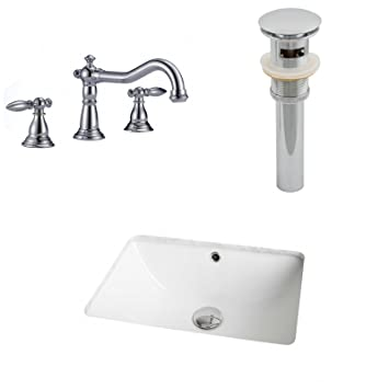 "Jade Bath JB-13071 18.25"" W x 13.75"" D CUPC Rectangle Undermount Sink Set with 8"" o.c. CUPC Faucet and Drain, White"