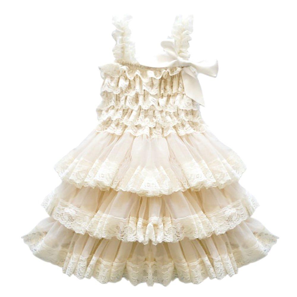 CVERRE Lace Flower Rustic Burlap Girl Baby Country Wedding