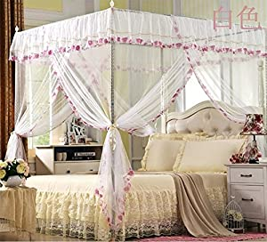 Naturety 4 Corners Post White Flower Canopy Curtain Mosquito Bed Netting Twin
