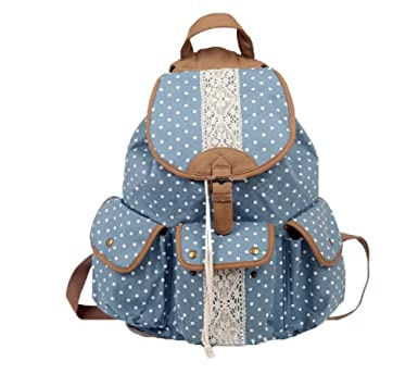 niceEshop(TM) Cute Polka Dot Rucksack Canvas School Bag Campus Backpack(Blue)