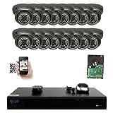 GW Security 16 Channel 4K NVR 5MP IP Camera Network PoE Surveillance System with 16-Piece HD 1920P Outdoor Indoor Weatherproof Dome Cameras - Grey (Color: Grey, Tamaño: 16 Camera System)