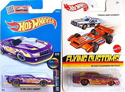 Hot Wheels Flames Flying Customs Ford Thunderbird & 2016 Camaro Purple Car Set - Pro Stock '86 Ford & '10 Mild to Wild Racers (Diecast Chevy Truck 1989 compare prices)