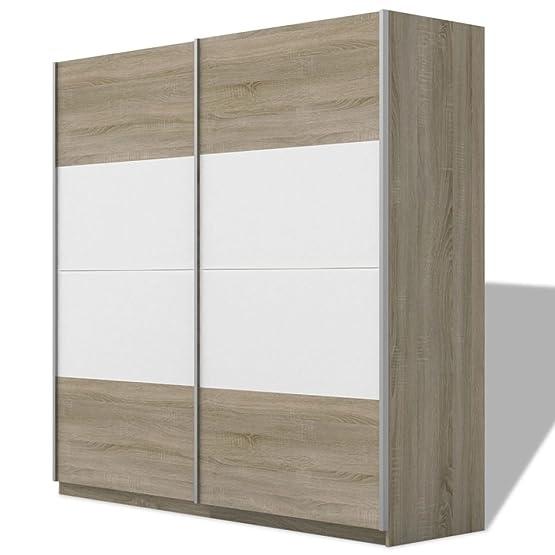 Vidaxl armadio organizzatore per vestiti, 2porta scorrevole, lucido, 150/200CM 2colori, High-Gloss White, 200 cm