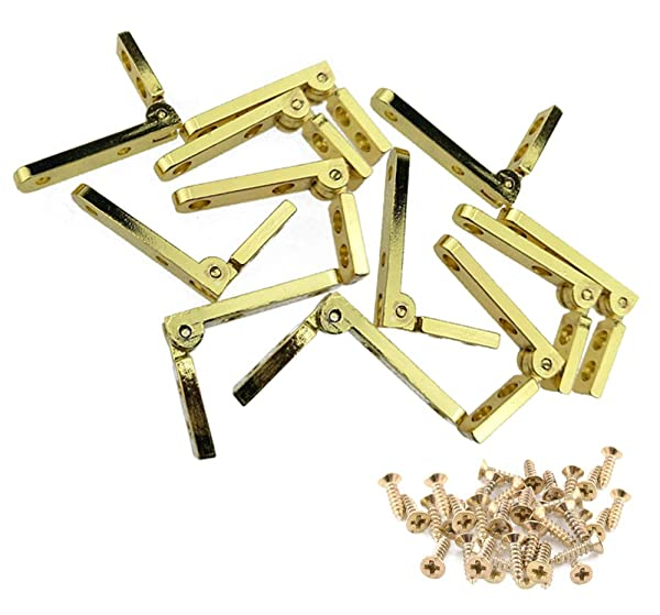 Hub's Gadget 12 Pcs 90 Degree Hinges Wooden Box Gift Wine Jewelry Box Chest Case Hinge with Screws