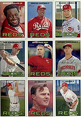 2016 Topps Heritage Cincinnati Reds Team Set of 12 Cards: Brandon Phillips(#23), Aroldis Chapman(#80), Eugenio Suarez(#111), Billy Hamilton(#120), Kyle Waldrop/Keyvius Sampson(#164), Skip Schumaker(#257), Bryan Price(#275), Anthony DeSclafani(#281), Zack
