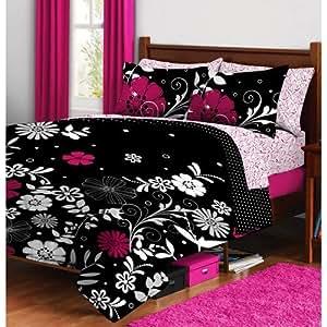 Pink Black Teen Girls Flower Floral Twin Xl Comforter & Sheet Set (5 Piece Bed in a Bag)