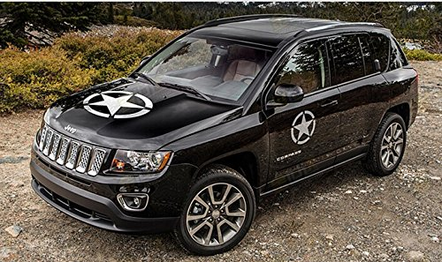 US Army Military Star Car Sticker Decal for Jeep Grand Cherokee, Wrangler, Renegade, Compass, Patriot, CRV, SUV, Minivan(White, 11.5