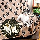 Trixie 37182 Fleecedecke Barney,150x100 cm, schwarz mit beigen Pfoten