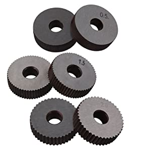 CNBTR 0.5mm 1.5mm 2mm Pitch Single Wheel with 1.0mm Pitch Straight Linear Knurling Tool Set of 7