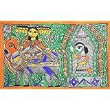 "Dolls Of India ""Ravana Kidnaps Sita In His Chariot"" Madhubani Folk Art On Paper - Unframed (55.88 X 38.10 Centimeters..."