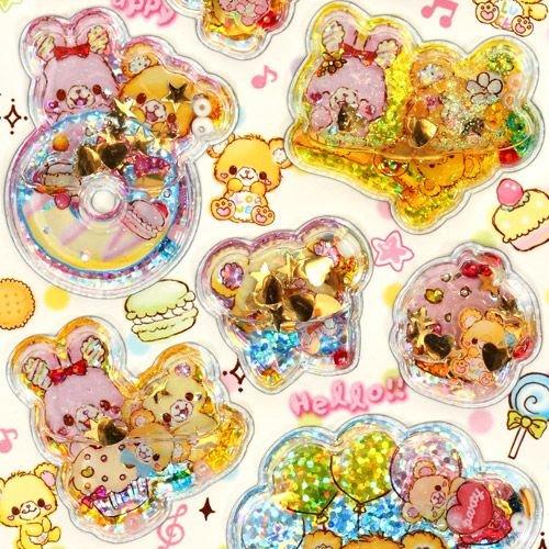 water capsule sticker cute teddy bear rabbit