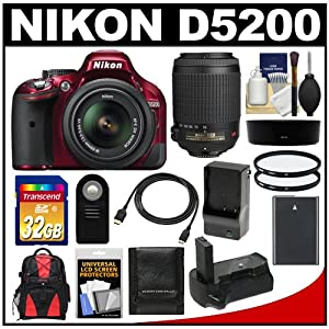 Nikon D5200 Digital SLR Camera & 18-55mm G VR DX AF-S Zoom Lens (Red) with 55-200mm VR Lens + 32GB Card + Backpack + Grip + Battery & Charger + Filters Kit
