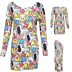 2D Womens Cartoon Dog Say What Slogan Long Sleeve Dress Crew Neck Ladies Fashion Size 8-10 12-14 by Star Styles