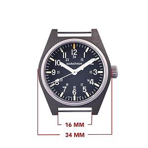 Marathon Watch WW194009-SG-NGM General Purpose Quartz Swiss Made Military Field Army Watch (GPQ) with MaraGlo and Sapphire Crystal, (34mm, Sage Green, No Government Markings) (Color: Sage Green - No Gov't Markings)
