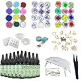 10X30ML Epoxy Resin, 4Molds 17 Open Bezel Metal with Tape, 36Pcs Decorations with Colorful Dried Flowers and Glitter Powder, Sequins Stickers with Tweezer, Mini Lamp (Tamaño: 10resin+36Decor+Lamp+Molds)