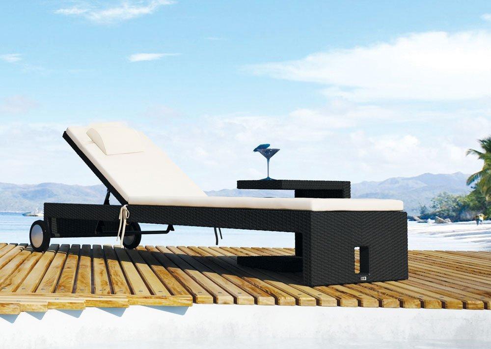 iCASA Gartenmöbel Polyrattan Sonnenliege Julia schwarz – inkl. Auflage + Kopfkissen in Elfenbein Farbe günstig