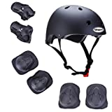 Kids Outdoor Sport Protective Gear Set with Helmet Knee Elbow Wrist Pads Adjustable Safety for Cycling Skateboarding Skating Rollerblading Hoverboard BMX and Other Extreme Sports Activities (black) (Color: black)