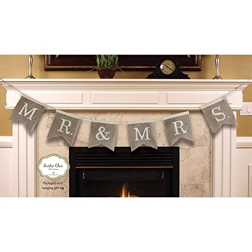 Mr. And Mrs. Burlap Wedding Bunting Banner