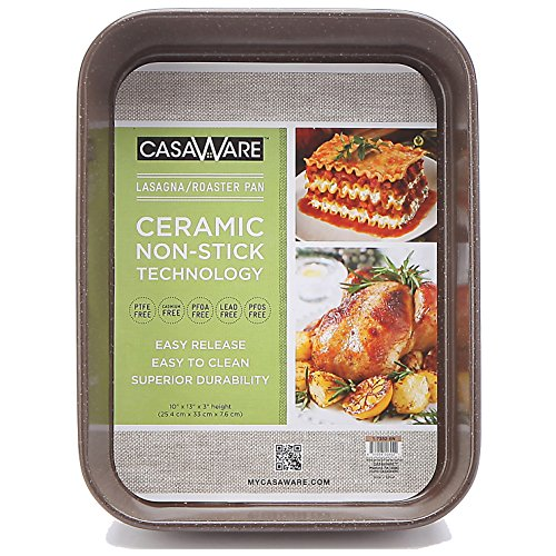 casaWare Ceramic Coated NonStick Lasagna/Roaster Pan 13 x 10 x 3-Inch (Brown Granite) (Microwave 13 Deep compare prices)