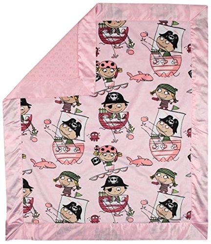 """My Blankee Pirates Minky Pink w/ Minky Dot Pink Baby Blanket, 30"""" x 35"""""""