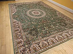 Stunning Qum Silk Area Rugs 5x8 Living Room Green Rugs 5x7 Dining Room Olive Cream Reds Area Rug (Medium 5\'x8\')