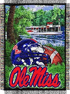Buy NCAA Mississippi Rebels 48-Inch-by-60-Inch Acrylic Tapestry Throw by Northwest
