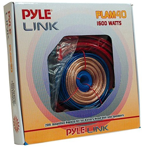 Pyle PLAM40 20 Feet 4 Gauge 1600 Watt Amplifier Hookup For Battery Head Unit and Speakers Installation Kit (Amp Wire 4 Gauge compare prices)