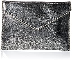 Rebecca Minkoff Leo Envelope Clutch, crackle Silver, One Size