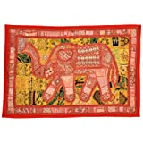Little India Rajasthani Embroidered Applique Cotton Wall Hanging 526 (76.2 Cm X 114.3 Cm, Red)