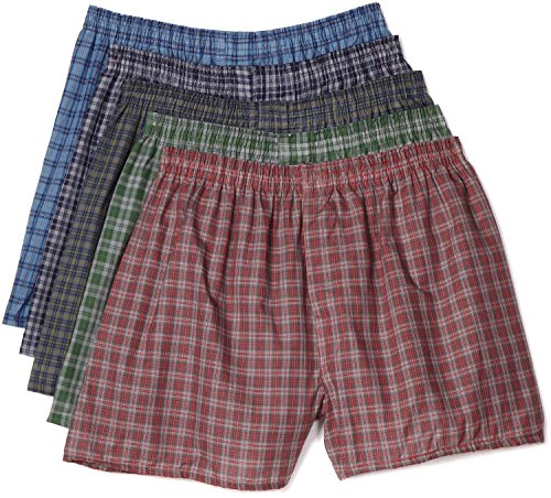 Fruit of the Loom Men's 5Pack Plaid Boxer Shorts Boxers Underwear 3XL (Fruit Of The Loom Boxers 3xl compare prices)