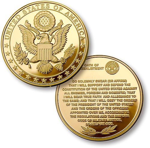 Northwest Territorial Mint Great Seal Oath of Re-Enlistment Merlin gold Challenge Coin