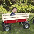 Best Choice Products® All Terrain Pulling Wood Wagon Red w/ Wood Railing Children Kid Garden Cart