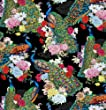 Fat Quarter Peacocks On Black Printed Cotton Quilting Fabric 50 x 55cm
