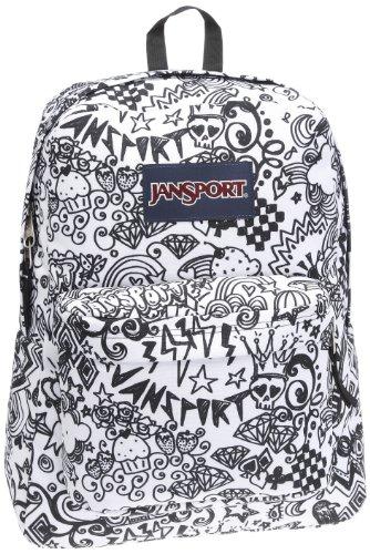 JanSport Classic SuperBreak Backpack, Black/White Doodle