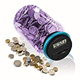 HeQiao Digital Coin Bank Auto Counting Savings Jar for US Coins (Purple) (Color: Purple)