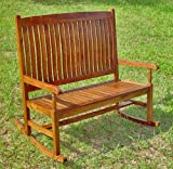 Traditional Wooden Double Porch Rocker in Stain (Stain) (43&quot;H x 45&quot;W x 21&quot;D)