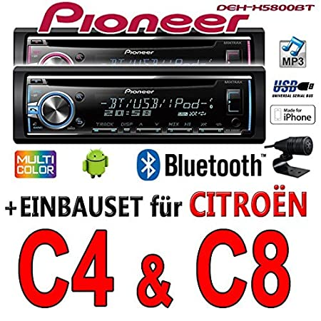 Citroen C4 C8 - Pioneer DEH-X5800BT - CD/MP3/USB Bluetooth Autoradio - Einbauset