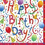 Entertaining with Caspari Happy Birthday Paper Cocktail Napkins, Pack of 20