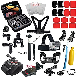Spideer® Gopro 4 Accessories Bundle Kit for Gopro Hero 4 Gopro 4 Gopro 3+ 3 2 1 Large Shockproof Carry Case + Chest Strap + Helmet Strap + Head Strap + Monopod Handhold Mount + Handlebar Seatpost Mount + Anti-fog Inserts + Gopro Suction Cup Mount + Buckle Basic Strap Mount + J-hook Buckle Mount + Long Screw Bolt + Three-way Adjustable Pivot Arm + Floating Handle Grip + 360 Rotary Clip Mount for Gopro + Bike Tripod Mount + Wrist Strap Mount for Gopro