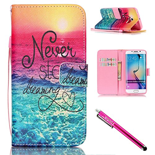 Galaxy S6 edge Case, Firefish [Kickstand] PU Leather Flip Purse Case Slim Bumper Cover with Lanyard Magnetic Skin for Samsung Galaxy S6 edge + including One Stylus-Sea