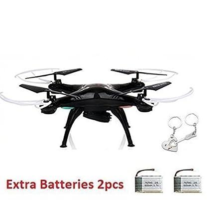 okymrfed5 cadeau gratuit + Syma X5SW Wifi FPV en temps réel 2,4 G nouveau RC Quadcopter Drone drone RTF UFO avec 2MP HD caméra dernière Version + Extra2 batteires 3.7V haute 720mAh Lipo Batteries (noir)
