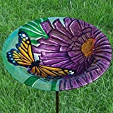 Monarch Floral Glass Birdbath with Stake