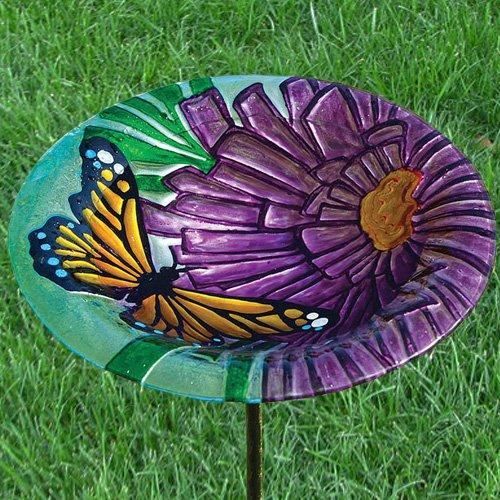 Monarch Floral Birdbath