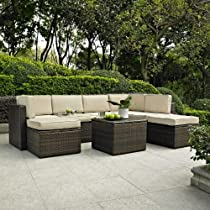 Hot Sale Palm Harbor 8 Piece Outdoor Wicker Seating Set - Two Corner Chairs, Three Center Chairs, Two Ottomans & Coffee Sectional Table