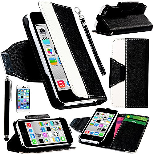 Mylife Top Hat Black And White {Classic Design} Faux Leather (Card, Cash And Id Holder + Magnetic Closing + Hand Strap) Slim Wallet For The Iphone 5C Smartphone By Apple (External Textured Synthetic Leather With Magnetic Clip + Internal Secure Snap In Har